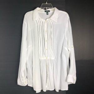 Lauren Ralph Lauren Women's Blouse White 3X Pleats